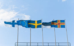 Fluttering Scandinavian flags Stock Photo