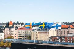 Fluttering Scandinavian flags Royalty Free Stock Photo