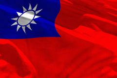 Waving Taiwan Province of China flag for using as texture or background, the flag is fluttering on the wind. Fluttering Taiwan Province of China flag for using stock images