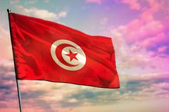 Fluttering Tunisia flag on colorful cloudy sky background. Prosperity concept. Fluttering Tunisia flag on colorful cloudy sky background. Tunisia prospering stock image