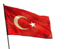Fluttering Turkey flag on clear white background isolated. Fluttering Turkey flag isolated on white background stock image