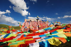 Flutters sutra streamer. China, Tibet, the Buddhist scriptures written on the flag, the Lord Buddha on the expression of religious faith Royalty Free Stock Photo