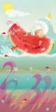 Flutuação da melancia Imagens de Stock