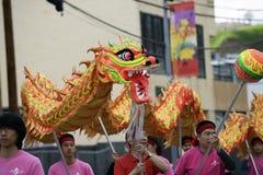 Flutuador do dragão em polos imagens de stock royalty free