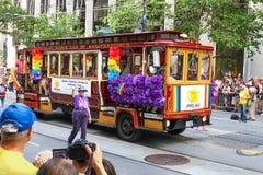 Flutuador do trole de San Francisco Pride Parade PFLAG Fotos de Stock