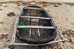 Flutuador Vietname do barco da cesta fotografia de stock royalty free