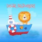 Flutuadores bonitos do filhote de leão do cartão no barco ilustração do vetor