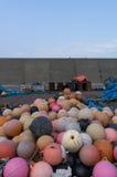 Flutuadores plásticos da pesca Fotografia de Stock Royalty Free