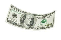 Flutuando cem dólares Bill Imagem de Stock