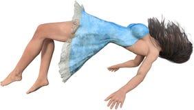Flutuando, mulher de queda no ar, isolado fotografia de stock royalty free