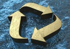 flutuar 3D recicl o símbolo Fotografia de Stock Royalty Free