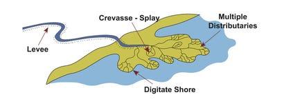 Fluvial dominujący delty geologii środowisko Zdjęcia Royalty Free