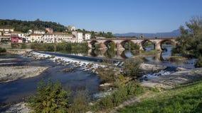 Fluvial park na rzecznym Serchio w Lucca, Tuscany, Włochy Fotografia Royalty Free