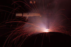 Flux core wire arc welding is most population in welding process. Flux core wire arc welding is most population Stock Image