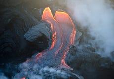 Flux de lave de volcan de Kilauea, Hawaï Photographie stock libre de droits