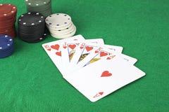 Flux droit et jetons de poker Photo libre de droits