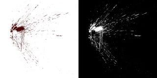 Flux sanguins sur un mur blanc Illustration de Digital avec de l'alpha matte à composer rendu 3d illustration libre de droits