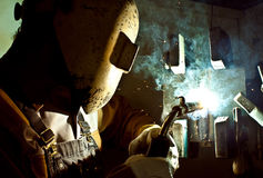 Fluxcore welding. A craftsman fluxcore welding plate Stock Photo