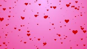 Fluxo bonito do teste padrão do coração no movimento cor-de-rosa do fundo ilustração do vetor