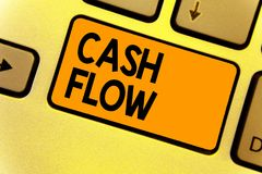 Fluxo de caixa do texto da escrita da palavra Conceito do negócio para o movimento do dinheiro em e para fora de afetar a chave I fotografia de stock royalty free