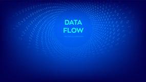 Fluxo de dados Código de Digitas Fluxo de dados binários Urdidura virtual do túnel Codificando, programando ou cortando o conceit ilustração royalty free