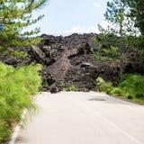 Fluxo de lava endurecido na estrada na inclinação de Etna fotografia de stock royalty free