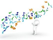 Fluxo de notas musicais sobre o homem 3D Fotos de Stock Royalty Free
