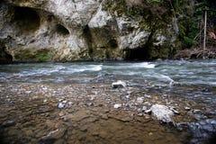 Fluxo do rio em Slovensky Raj foto de stock