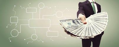 Fluxograma com o homem de negócio com dinheiro foto de stock