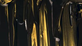 Fluxos da pintura de acrílico do preto e do ouro filme