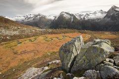 Fluxos de córrego pequenos no prado, na atmosfera outonal Fotos de Stock Royalty Free
