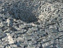 Fluxos de dinheiro em um funil ilustração do vetor