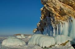 Fluxos fantásticos surpreendentes do gelo do Lago Baikal Foto de Stock
