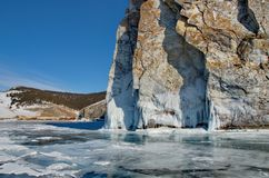 Fluxos fantásticos surpreendentes do gelo do Lago Baikal Fotografia de Stock