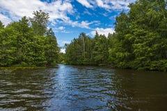 Fluya en el río contra el cielo azul Riegue la naturaleza danesa de Landscape Foto de archivo libre de regalías