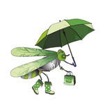 Fly. Modern fly in boots, with a bag and umbrella Stock Photography