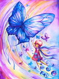 Fly. Girl imagining flying with butterflies.Picture I have created myself with watercolors Royalty Free Stock Image
