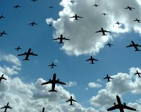 Fly. Passenger aeroplanes on sky background Royalty Free Stock Photo