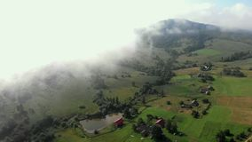 Fly aerial cloud. In the Carpathians stock video