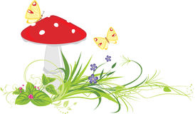 Fly agaric mushroom, flowers and butterflies Stock Images