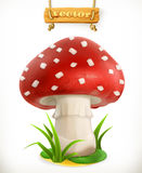 Fly Agaric Mushroom, Vector Icon Stock Image