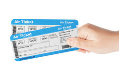 Fly air tickets holded by hand Royalty Free Stock Image