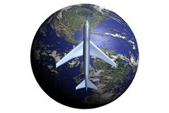 Fly through America. A 747 plane at the foreground of the Earth, just over America Stock Photography