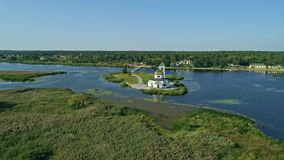 Aerial drone footage. Fly around christian church on island on the dnipro river. Fly around christian church on island on the dnipro river. Aerial drone footage stock video