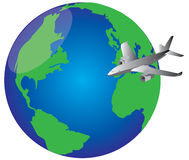 Fly around the world. In a airplane vector illustration