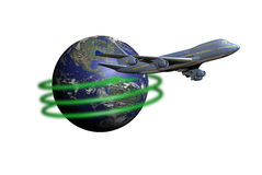 Fly around the World. A 747 plane at the foreground of the Earth. A green line indicates that the plane makes the world tour several times Stock Photos