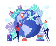 Fly around the world. Fly around the world, travel and journey idea in transportation concept, vector art illustration. Man and Woman flat traveler with luggage royalty free illustration