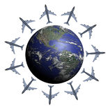 Fly arround the World. Multiple planes around the Earth, making like a star, just over America Royalty Free Stock Image