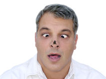 Fly attack. Shameless fly sits on the nose of a shocked man Royalty Free Stock Photography