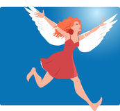 Fly away. Young woman running with wings attached to her arm, concept illustration for imagination or changing your life Royalty Free Stock Images